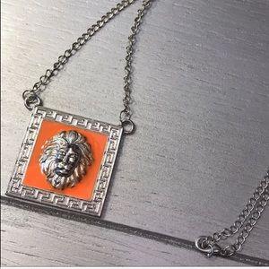Stasia Leo: Orange Lions Head Pendant Silver Chain